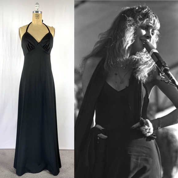 Vintage Dresses & Skirts - 70's Witchy Polyester 4 Way Maxi Festival Dress S